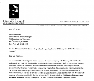 Letter to Environmental Review Manager of Grand Rapids